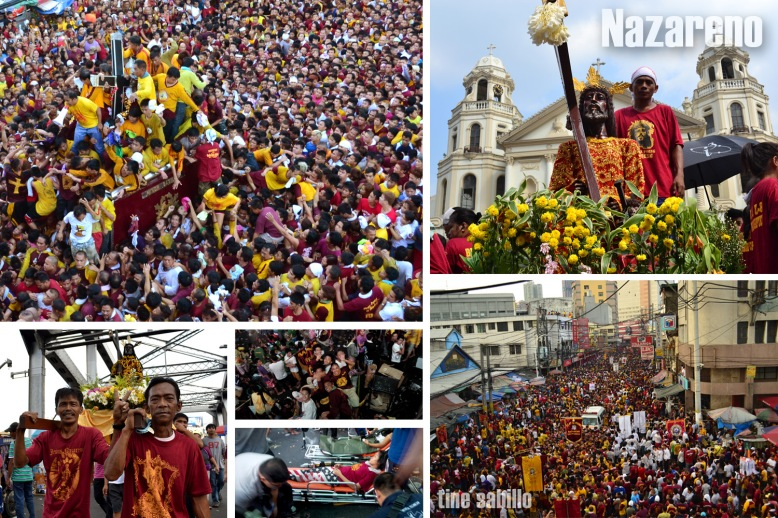 Devotees of brave a sea of people to reach and touch the image of the Black Nazarene.