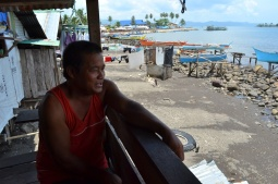 Fisherman living by the shore in Boston, Davao Oriental
